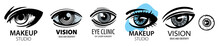 Vector Set Of Logos With Drawn Eyes