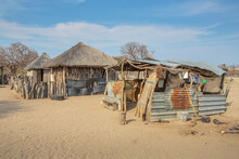 African Village With Traditional Huts In The Makgadikgadi Salt Pan, Botswana