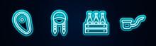 Set Line Steak Meat, Braid, Pack Of Beer Bottles And Smoking Pipe. Glowing Neon Icon. Vector.