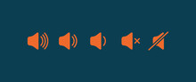Sound Volume Flat Icon. Sign For Increases And Reduces Loud Sound. Set Of Orange Volume Level Icons On Blue Background