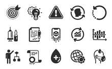 Sick Man, Recovery Data And Idea Gear Icons Simple Set. Diagram Chart, Oil Serum And Update Data Signs. Face Id, Algorithm And Target Purpose Symbols. Flat Icons Set. Vector