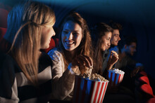 Group Of Friends In The Movie Theater