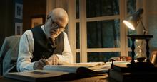 Academic Professor Working In His Office
