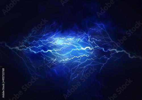Fotografía Flash of lightning on dark background. Thunderstorm