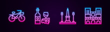 Set Line Bicycle, Wine Bottle With Cheese, Place De La Concorde And Notre Dame. Glowing Neon Icon. Vector.
