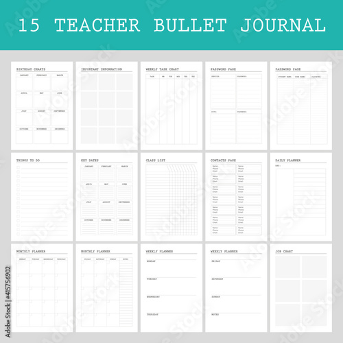 Obraz na plátne Planner pages bullet journal for teachers, daily,weekly, class list