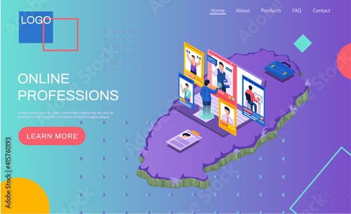 Online professions landing page template. Male worker chooses new profession or vacancy online on job search site. Specialists work remotely. Unemployed person looking for new work on virtual screen
