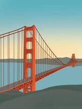 Digital Illustration Of Golden Gate In San Francisco, USA. Orange Bridge With City Behind. Digital Art Drawing.