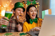 canvas print picture - couple celebrating St. Patrick's Day