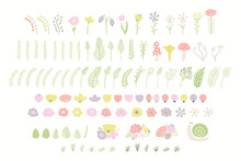 Wild Flowers, Grass, Fern, Mushroom Clipart Collection, Isolated On White. Hand Drawn Vector Illustration. Floral Elements Set. Meadow, Field Scene Creator. Scandinavian Style Flat Design For Kids