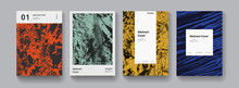 Set Of Abstract Modern Grunge Posters. Halfrone Textures Collection Minimal Futuristic Covers Vector Design. Textured Retro Background..