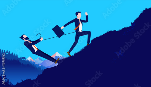 Canvas Print Business disagreement - Businessman holding back colleague with tight rope, restraining him from doing work