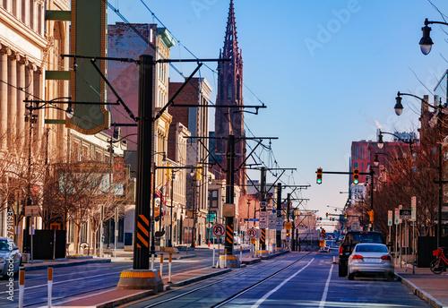 Obraz na plátně Buffalo Main street and tram line in direction of Saint Louis Roman Catholic Chu