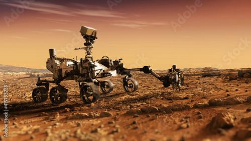 Fotografia Mars Rover Perseverance exploring the red planet