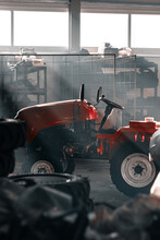 Red Tractor At Farm