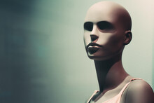 Portrait Of Mannequin. Woman Face In Store Window. Isolated Bald Dummy. Shopping, Beauty Or Feminine Concept. Copy Space For Your Text