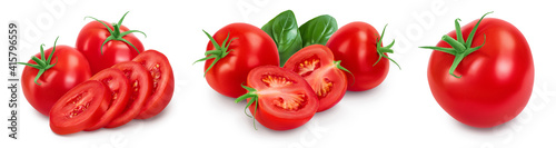 Tomato with slices isolated on white background with clipping path and full depth of field. Set or collection