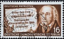 A Portrait Of Heinrich Friedrich Karl Vom Und Zum Stein, Prussian Statesman; Parchment Scroll With Reforms Brought About By Him. Text: German Patriots