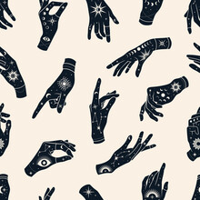 Vector Seamless Pattern Of Hands With Signs Magic Eyes, Constellations, Sun, Phases Of Moon And Stars. Mystical Esoteric Trendy Background For Design Of Fabric, Packaging, Phone Case, Notebook Covers