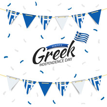 Vector Illustration Of Greek Independence Day. Garland With The Flag Of Greece On A White Background.