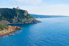 Livorno, Tuscany, Italy: Beach And Cliffs Of Calafuria. The Tower Indicates The Cliff Under The Aurelia Bridge: A Beautiful Sea, A Classic Diving Destination.