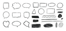 Vector Set Of Freehand Scribble Drawing Isolated On White Background, Black Pen Sketches.