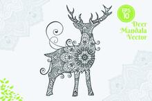 Deer Mandala Vector Coloring Book