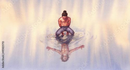 Obraz na plátně illustrazione surreale di un uomo riflesso nell'acqua