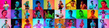 Collage Of Faces Of 16 Emotional People On Multicolored Backgrounds In Neon Light, Fluid. Expressive Models, Multiethnic Group. Human Emotions, Facial Expression Concept. Movie, Fashion, Music, Beauty
