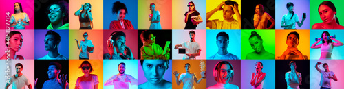 Obraz Collage of faces of 16 emotional people on multicolored backgrounds in neon light, fluid. Expressive models, multiethnic group. Human emotions, facial expression concept. Movie, fashion, music, beauty - fototapety do salonu