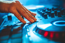 DJ Hands Creating And Regulating Music On Dj Console Mixer In Concert Nightclub Stage