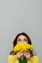 Pleased Woman Looking Up While Obscuring Face With Yellow Flowers Isolated On Grey