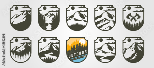 Fotografie, Tablou adventure emblem logo vector mountain illustration design, vintage outdoor logo