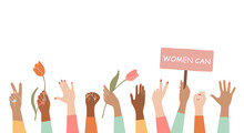 Illustration Woman's Hand Holds A Flower,fist And V-sign In The Air.Women Protesting About Something, With The Blank Protest Board.The Concept Of Feminism, Equality, Freedom And Women's Rights.