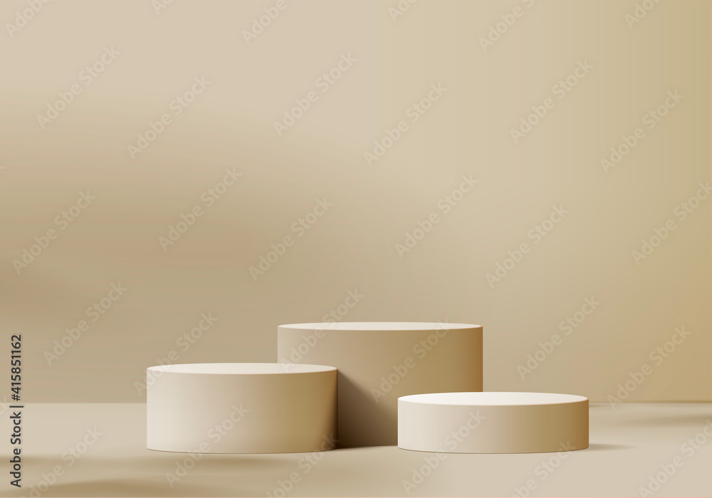 Fototapeta 3d display product beige minimal scene with geometric podium platform. cylinder background vector 3d rendering with podium. stand for cosmetic products. Stage showcase on pedestal 3d beige studio