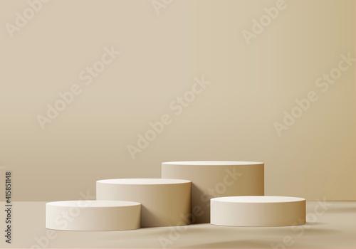 3d display product beige minimal scene with geometric podium platform Fototapete