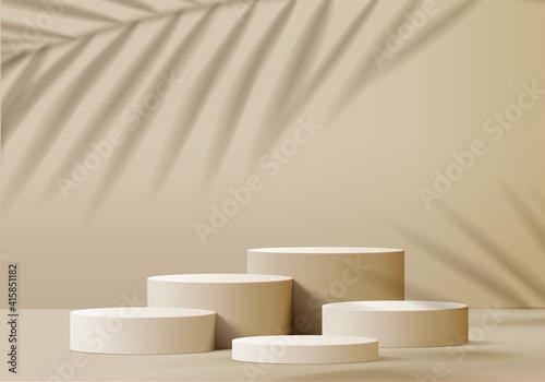 Fotografia, Obraz 3d display product beige minimal scene with geometric podium platform