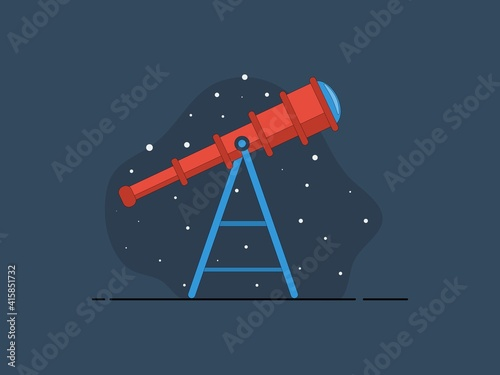 Fotografering Color image of cartoon telescope on white background