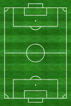 Soccer Field. Football Stadium. Vertical Background Of Green Grass Painted With Line. Sport Play. Overhead View. Pitch Green. Ground Pattern Texture. Playground Top Plan. Fotball Court. Vector