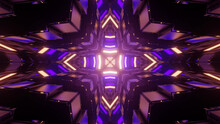 3d Rendering Of A Futuristic Kaleidoscope Hallway Towards A Portal With Colorful Neon Lights