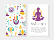 Yoga Studio Business Card Template with Front and Back Side, Traditional Medicine, Meditation Class, Spiritual Practice Hand Drawn Vector Illustration