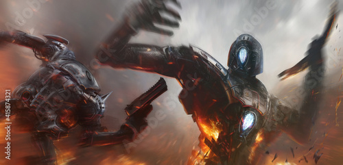Fotografia Cinematic illustration of two robots fighting in a bitter conflict