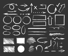 Chalk Graphic Elements. Vector Set Of Hand Drawn Chalk With Frames, Arrows, Oval, Grunge Line, Rectangle, Strokes, Stripes. Chalk Forms And Brushes On School Blackboard. Wavy, Dashed Underline Strokes