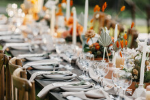 Boho Rustic Modern Guest Table Design, Wedding Ceremony Outdoor, Catering And Organization