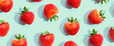 Fresh red strawberries overhead view - flat lay