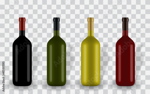 Photo Colorful naturalistic closed 3D wine bottle of different colors without label