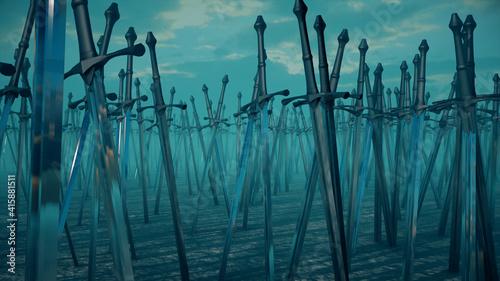Fotografia 3d rendered illustration of swords stuck into ground