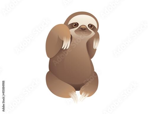 Fototapeta premium Sloth sitting on the ground cartoon animal design vector illustration on white background