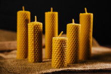 Beeswax Candle. A Beautiful Souvenir Made From Natural Products.