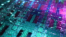 CPU, GPU Die Chip On Silicon Wafer. Central Processing Unit, CPU Or Graphic Chip Unit, GPU Concept. Futuristic Microchip Processor With Iridescent Lights. 3d Rendering